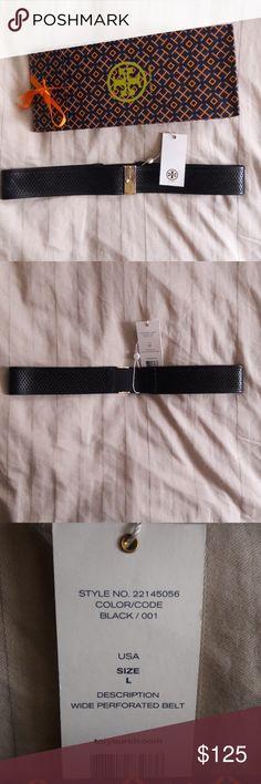 "TORY BURCH Wide Perforated Black belt 36""L x 0.25""H x 2""W Soft Leather Tory Burch Accessories Belts"