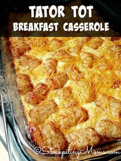 Tator Tot Breakfast Casserole is a great hot breakfast meal for the weekend or on Christmas morning!