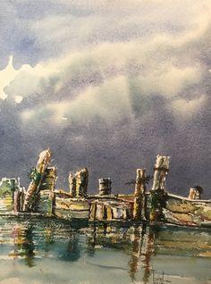 Arcachon cap ferret mimbeau brise lame aquarelle watercolor landscape réflexion reflets