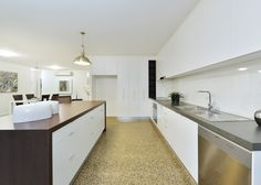 Budget kitchen using laminate benchtops. The laminate selections used are Polar White, Evening Shale & Navurban Windsor. Building Companies, Kitchen On A Budget, Windsor, Budgeting, Custom Design, New Homes, Construction, Home Decor, Building