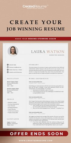 Creative and professional resume template that will help to get the job of your dreams faster! Easy to customize on Word and Apple Pages. Designed by an experienced CreatedResume team these resume templates will catch an eye and help you outstand from the others. #resume #resumetemplate #modernresume #resumeformat #resumedesign #resumetips #createdresume #cv #cvtemplate Cover Letter Template, Letter Templates, Resume Templates, Modern Cv Template, Curriculum Vitae Template, Executive Resume, Microsoft Word 2007, Modern Resume, Resume Format