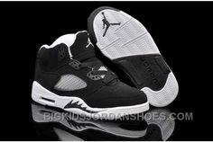 new arrival e0500 fedbc Nike Air Jordan 5 Kids Black Grey White Shoes New