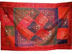 Amazon.com - Indian Decor Tapestry Red Sequin Mirror Embroidered Wall Hanging Throw India