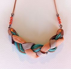 Nude, mint and sand braided necklace. $23.00, via Etsy.
