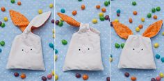 Tutorial: Bunny Treat Bags with Free Pattern - cute for spring time and Easter holiday.  Sewing project idea.