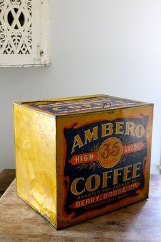Gigantic coffee tin  General store display  by vintagewall on Etsy