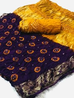 Fabric : Cotton silk Color : Purple Length – Meter & Meter Blouse Package Content : 1 Saree With 1 Blouse Piece Work : Bandhani Contact us / whats app us : 7990485004 Tussar Silk Saree, Chiffon Saree, Cotton Saree, Cotton Silk, Printed Cotton, Bandhini Saree, Bandhini Dress, Latest Sarees Online, Bridal Lehenga Collection