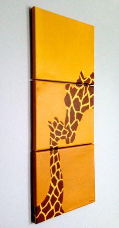 Original Vertical Giraffe Paintings Set in Yellow Gold with Giraffe Print Silhouette
