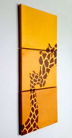 Original Vertical Giraffe Paintings Set in Yellow Gold with Giraffe Print Silhouette