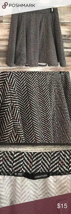 Maurices Herringbone Skater Skirt Worn only once. Herringbone with flecks of maroon. Soft and stretchy skater style skirt. Maurices Skirts Circle & Skater