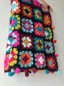 maRRose - CCC:photo of the crocheted Boho Granny Blanket - I luv esp the bobbles at the edges and the colours