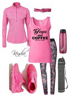 """Yoga & Coffee"" by k1974johnson1117 ❤ liked on Polyvore featuring NIKE, Puma, Asics, NOVICA and prAna"