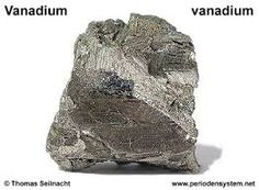 Vanadium is a chemical element with symbol V and atomic number 23. It is a hard, silvery gray, ductile and malleable transition metal. The element is found only in chemically combined form in nature, but once isolated artificially, the formation of an oxide layer stabilizes the free metal somewhat against further oxidation.