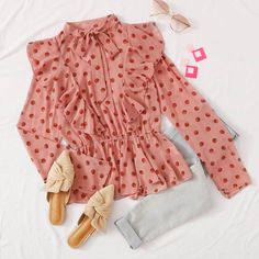 To find out about the Tie Neck Ruffle Detail Peplum Blouse at SHEIN, part of our latest Blouses ready to shop online today! Girls Fashion Clothes, Teen Fashion Outfits, Fashion Wear, Look Fashion, Cute Comfy Outfits, Classy Outfits, Pretty Outfits, Stylish Outfits, Stylish Dresses For Girls