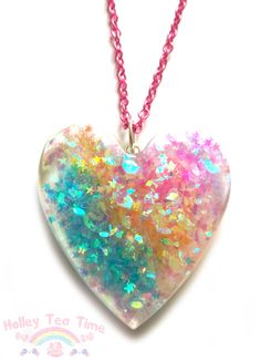 Fairy Princess Rainbow, Heart Resin Necklace. Colourfull and Beautiful.  ❤