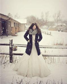 winter picture in grooms jacket <3