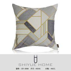 简约现代中式新中式样板房沙发靠包靠垫抱枕灰白色提花条纹方枕图片联系人张小姐QQ:2853529907