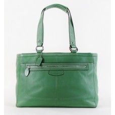 #Coach Green Leather Tote Bag