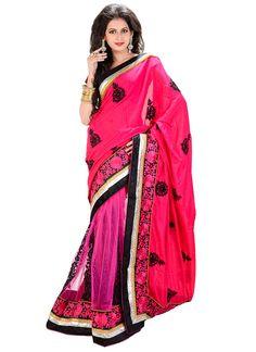 Pink Net N Chiffon #Saree
