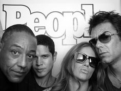 Giancarlo Esposito (Major Tom Neville), JD Pardo (Jason Neville), Tracy Spiridakos (Charlie Matheson)and Billy Burke (Miles Matheson) behind the scenes of Revolution.