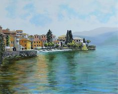 """The waters of Lake Como in Italy shimmer in jewel tones of aquamarine and sapphire while the town basks warmly under the summer sun. This is a 12x12"""" square premium quality giclée art print from an original oil painting by UK artist Ellisa Hague.  Other pieces in this series are available, please visit www.EllisaHagueOriginal.com or visit the Etsy Shop to view them."""