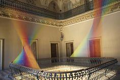 Gabriel Dawe rainbow thread installation, Villa Olmo, Como, Italy