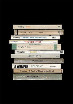 A poster print imagining if Coldplay had written their album 'A Rush Of Blood To The Head' as a series of books instead of songs. Frases Coldplay, Coldplay Tattoo, Coldplay Poster, Coldplay Songs, Chris Martin, Green Eyes Coldplay, Up And Up Coldplay, Album Covers, Backgrounds