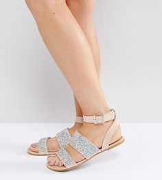 d141ee178c5 Get this Asos s flat sandals now! Click for more details. Worldwide  shipping. ASOS FANCY FEET Wide Fit Embellished Flat Sandals - Beige  Sandals  by ASOS ...