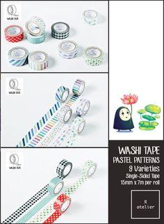 $2.50+ | Washi Tape | Pastel Patterns | 15mm x 7m – R.atelier #PlannerLove #PlannerCommunity #PlannerAddicts #JournalLove #MaskingTape #WashiTape #Embellishment #DecorativeTape #AdhesiveTape #KawaiiTape