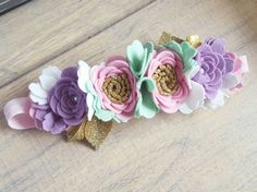 This LUXE flower crown is so dreamy! PASTEL is so unique & special!  Wool felt colours used are peony, violet, mint & white. beautifully finished