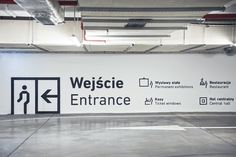 Complete wayfinding system & environmental graphics in Silesian Museum in Katowice Park Signage, Directional Signage, Wayfinding Signage, Signage Design, Branding Design, Environmental Graphic Design, Environmental Graphics, Parking Signs, Parking Lot