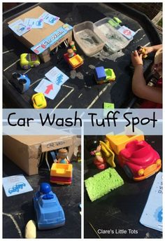 Fun imaginative car wash small world play for toddlers and preschoolers. Fun imaginative car wash small world play for toddlers and preschoolers. Eyfs Activities, Work Activities, Preschool Activities, Car Activities For Toddlers, Tuff Tray Ideas Toddlers, Kindergarten Sensory, Activity Ideas, Outdoor Activities, Tuff Spot