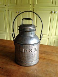 Antique Primitive 2 Quart Liquid Tin Covered Jug #NaivePrimitive