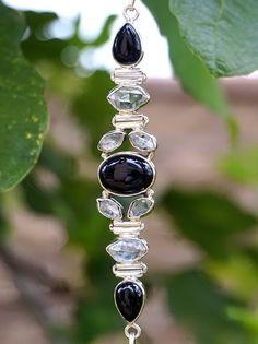 Latest Design Handmade Jewelry Black Onyx Sterling Silver Overlay Earring 2.25