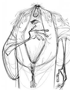 Fabulously expressive character design example by artist Craig Kellman. Has immediately recognisable personality and emotion (created especially through treatment of dark rings around eyes). Wonderful inspiration for how just a few key lines can work so well as an image. Certainly something to strive for in this project. (viewed 12/8)