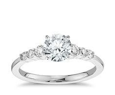 Petite Diamond Engagement Ring in 14k White Gold   Blue Nile