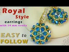 Handmade earrings with 14 mm rivolis tutorial - YouTube
