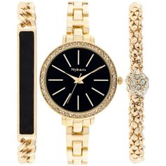 Style & Co. Women's Gold-Tone Bracelet Watch Set 32mm SY001GBK, ($35) ❤ liked on Polyvore featuring jewelry, watches, bracelets, accessories, gold, goldtone jewelry, gold jewelry, style & co., style & co jewelry and gold tone jewelry