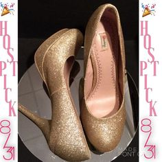 """visit poshmark and sign up free and use code PZTND for a $5 credit! Selling this """"Gold Glittery Heels size 7M"""" in my Poshmark closet! My username is: mariellelauren. #shopmycloset #poshmark #fashion #shopping #style #forsale #Olsenboye #Shoes  poshmark.com/closet/mariellelauren"""