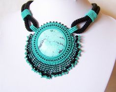 Bead Embroidery Necklace Pendant Beadwork Necklace with by lutita, $125.00