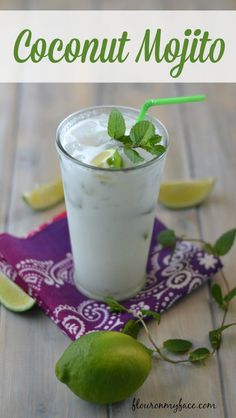 Cool off with a tropical Coconut Mojito, perfect for all celebrations and party cocktails via flouronmyface.com #SundaySupper