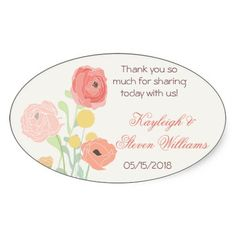 Rustic Posh in Coral Favor Labels  These favor labels or stickers are perfect for your rustic or garden themed wedding. They match our Rustic Posh in Coral wedding collection featuring old fashioned garden flowers in shades of coral, orange, yellow and accented in brown and green. Customize all text yourself with your choice of text. A thank you, the bride and grooms name along with your wedding date.