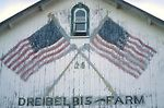 Barn side with American Flags