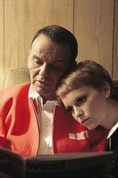 """francisalbertsinatra: """"Frank Sinatra and Mia Farrow at home, photographed by John Bryson, 1965 """""""
