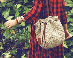 Dark blue cotton crochet bucket bag crochet by Vivianzakka on Etsy    Love this…