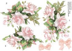 A lovely sheet of pale pink French roses on a decoupage sheet