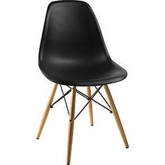 Cadeira Side Base Madeira Preto - By Haus