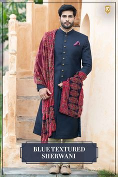 This navy blue knitted sherwani for men is the perfect indian wear outfit for the big day. Mens Indian Wear, Indian Groom Wear, Indian Men Fashion, Groom Fashion, Mens Wedding Wear Indian, Mens Ethnic Wear, Indian Man, India Fashion, Fashion Men