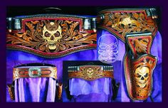 Winner of the World Leather Debut 2012 Holster Class, IFOLG Best of Category 2012 www.slickbald.com  #skull #leather #art #holster #hollywood #tattoo #cowboy