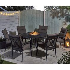 Garden Furniture With Fire Pit ripley metal 4 seater firepit set | gardens, small gardens and